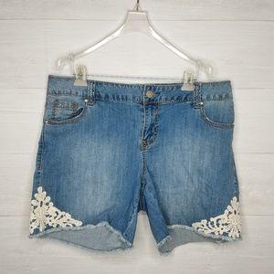 Lane Bryant Lace cutoff denim shorts size 16